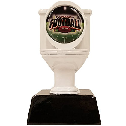 Decade Awards  Fantasy Football Toilet Bowl Loser Trophy - White  Last Place Award | 6 Inch Tall - Free Engraved Plate On Request Exclusive