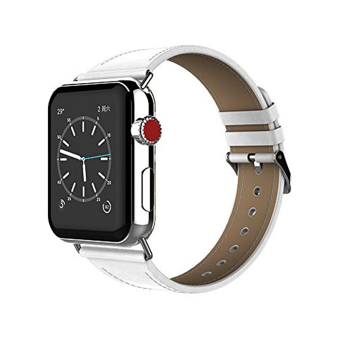 For Apple Watch Band, Urvoix 38Mm Smooth Leather Strap Replacement Leather Band With Metal Clasp For Apple Watch Series 3 Series 2 Series 1 Sport And Edition - White