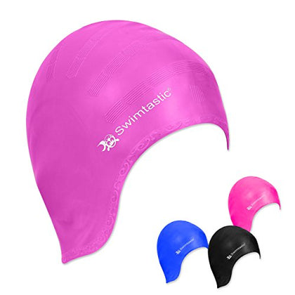 Swimtastic Long Hair Swim Cap With Ergonomic Ear Pockets - Specially Designed For Swimmers With Long, Thick, Or Curly Hair (Purple)