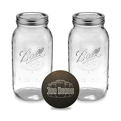 Ball Half Gallon Mason Jars - Wide Mouth 64 Oz Bundle With Non Slip Jar Opener- Set Of 2 Half Gallon Size Mason Jars - Canning Glass Jars With Lids