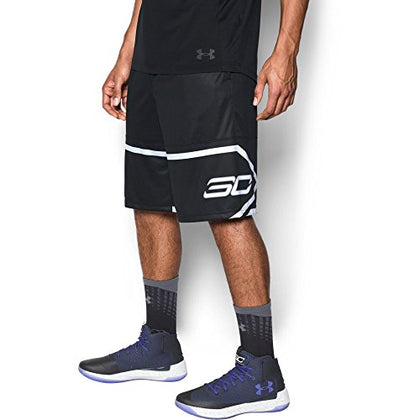 Under Armour Men'S Sc30 Pick 'N Roll Shorts, Black (001)/White, Large