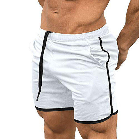 Everworth Men'S Gym Workout Boxing Shorts Running Short Pants Fitted Training Bodybuilding Jogger Short White S Tag L