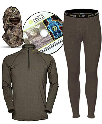 Hecs Suit Deer Base Layer Hunting Clothing With Human Energy Concealment Technology - Thermal 3 Piece Shirt, Pants, Headcover - High Performance Lightweight Breathable Wicking Fabric | Medium