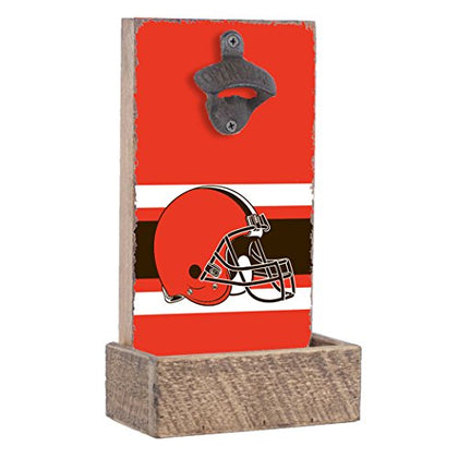 Nfl Cleveland Browns, Team Colors Background, Team Logo Bottle Opener By Rustic Marlin Designs,  7  X 12  X 4