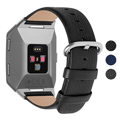 Fullmosa Compatible Fitbit Ionic Band, Leather Strap Compatible Fitbit Ionic Smart Watch Women Men, Sky Grey