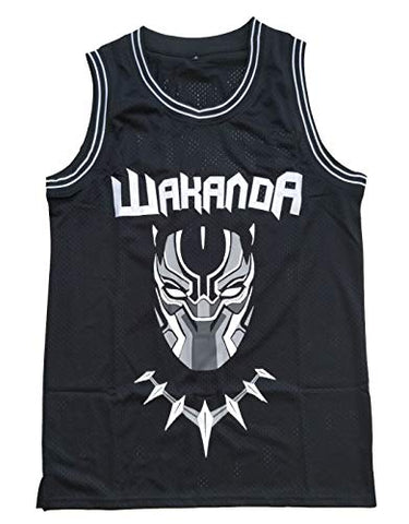 Supereasydeal #1 Black Wakanda T'Challa Movie Basketball Jersey Men Black (Black, X-Large)