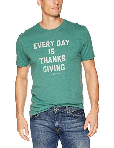 Life Is Good Men'S Crusher Tee Every Day Is Thanksgiving, Heather Forest Green, Medium