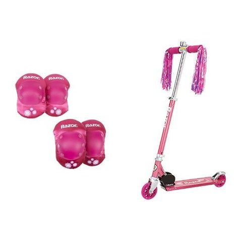 Razor Child Elbow And Knee Pad Set, Pink And Razor A Kick Scooter (Sweet Pea) Bundle