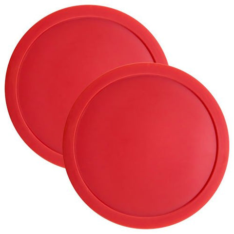Set Of Two Large Red 3 1/4 Inch Air Hockey Pucks For Full Size Air Hockey Tables By Brybelly