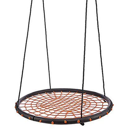 Ancheer Round Web Swing, 40 Inch Spinner Swing With Adjustable Rope, Great For Tree, Swing Set, Backyard, Playground, Playroom