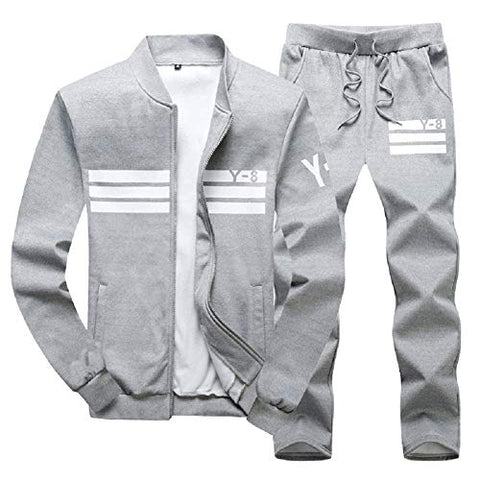 Lavnis Men'S Casual Tracksuit Long Sleeve Running Jogging Athletic Sports Set Gray Xl