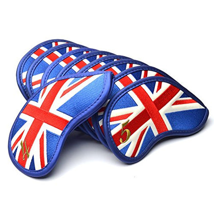 Coolsky Golf Club Iron Head Covers Uk Flag Pattern Thick Pu Synthetic Leather Fit Most Irons And Wedges,Set Of 9