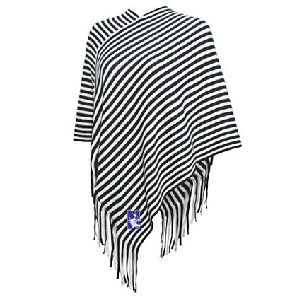 Ncaa Northwestern Wildcats Fewomen'S Campus Specialties Striped Team Poncho, Carbon/White, One Size