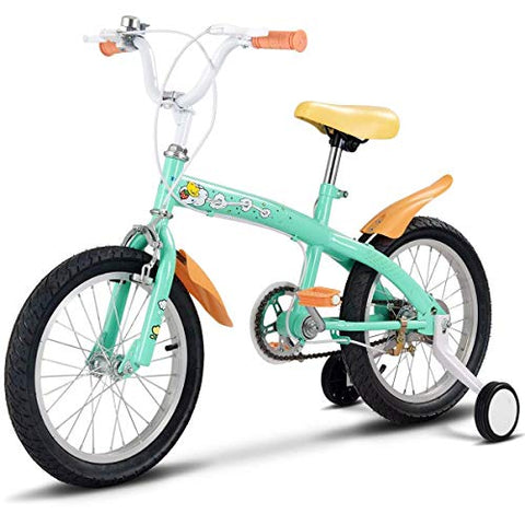 Costzon Kids Bike, 12-16 Inch Wheels, Bicycle With Training Wheels &Amp; Hand Brake For Boys And Girls,3 Colors Available (Green, 16-Inch)