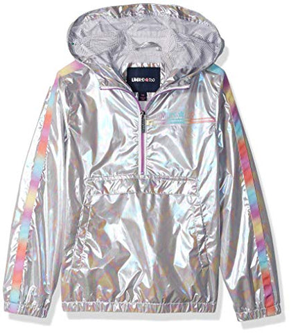 Limited Too Girls' Little Pullover Windbreaker, Silver, 5/6
