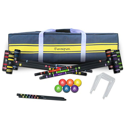 Harvil Complete 6-Player Croquet Set With Mallets, Balls, Stake Posts, Wickets And Carrying Case