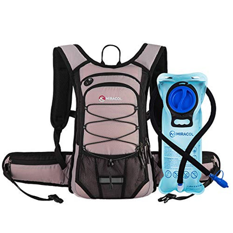 Miracol Hydration Backpack With 2L Bpa Free Water Bladder, Thermal Insulation Pack Keeps Liquid Cool Up To 4 Hours, Perfect Outdoor Gear For Hiking, Cycling, Camping, Running Pastel Violet