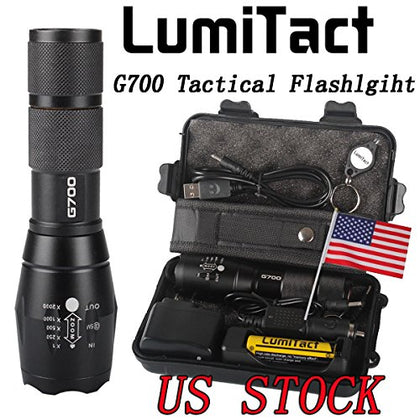Lumitact G700 Super Bright Tactical Flashlight, Rechargeable (18650 Battery Included), Zoomable, Ip65 Water-Resistant, 900 Lumens Cree Led, 5 Light Modes For Camping And Hiking