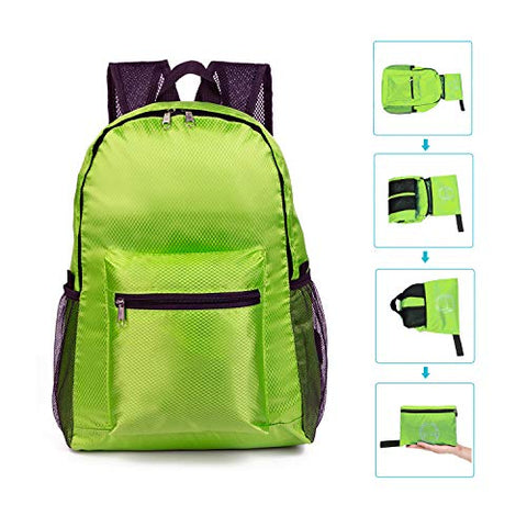 Modarani Foldable Green Sport Hiking Backpack Waterproof Handy Small Travel Daypack Sport Bag Boys Girls