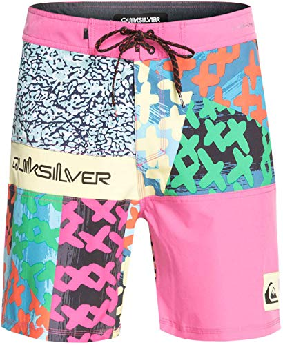 Quiksilver Mens Highline More Paint 18  - Board Shorts For Men Boardshorts Pink 36