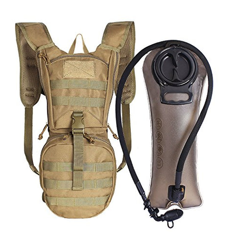 Unigear Tactical Hydration Pack Backpack 900D With 2.5L Bladder For Hiking, Biking, Running, Walking And Climbing(Tan)