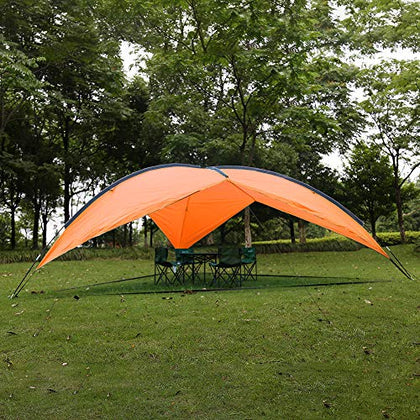 Karmas Product Large Canopy Tent Beach Tent Anti-Uv Sun Shelter Easy Setup Portable Lightweight Sun Shade Tarp For Outdoor Camping, Picnic, Fishing, Party (Orange)