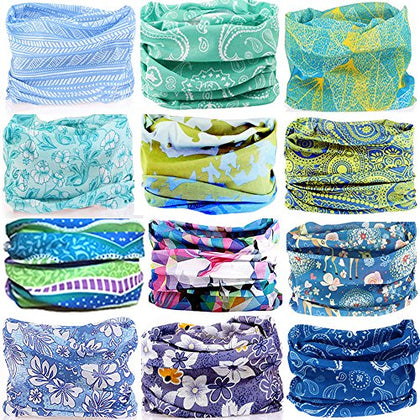 Kalily 12 Pcs Headband Bandana - Versatile Sports &Amp; Casual Headwear Multifunctional Seamless Neck Gaiter, Headwrap, Balaclava, Helmet Liner, Face Mask For Camping, Running, Cycling, Fishing Etc