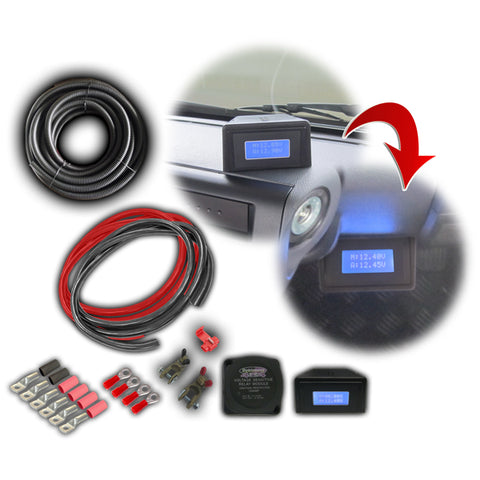 Dobinsons 4x4 140 AMP Dual Battery Wiring Kit with LCD Voltage Monitor and Automatic Solenoid