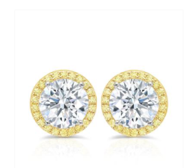 Crislu Fiore Canary Halo Stud Earrings