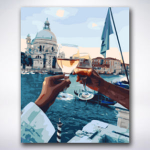 Dinner By Venetian Canals - Paint by number