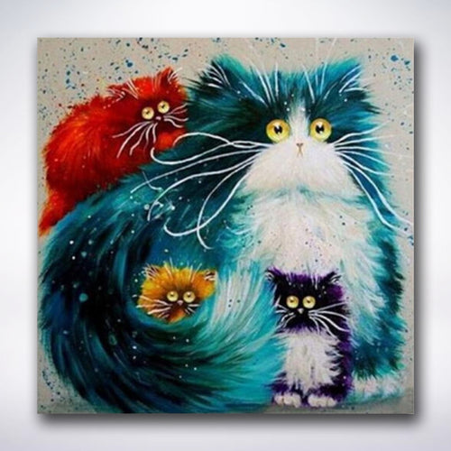 Four Cartoony Cats - Paint by number