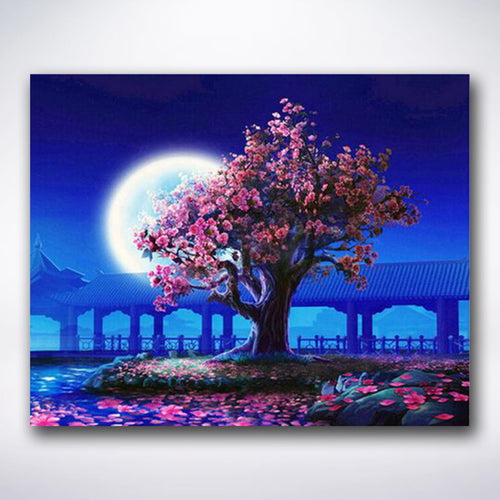 Full Moon Cherry Blossom - Paint by number