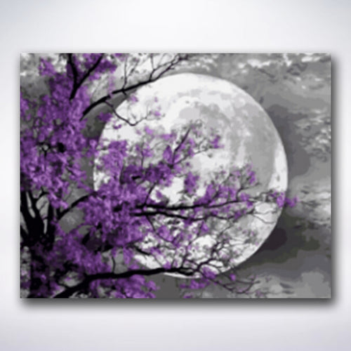 Full Moon Through Purple Tree - Paint by number