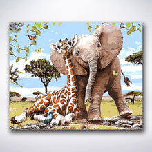 Load image into Gallery viewer, Giraffe And Elephant Best Friends - Paint by number