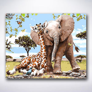 Giraffe And Elephant Best Friends - Paint by number