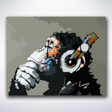 Load image into Gallery viewer, Happy Monkey Enjoying Music - Paint by number