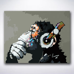 Happy Monkey Enjoying Music - Paint by number
