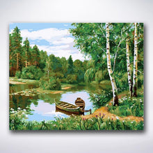 Load image into Gallery viewer, Lake Surrounded By Birch Trees - Paint by number