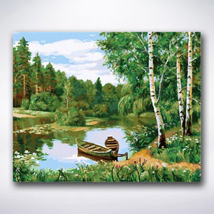 Lake Surrounded By Birch Trees - Paint by number