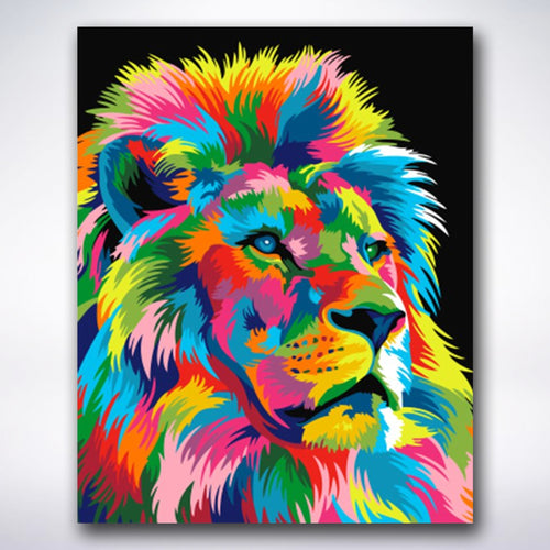 Lion With Coloured Mane - Paint by number