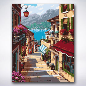 Mediterranean Alleyway - Paint by number