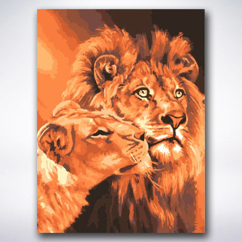Mighty Lion And Lioness - Paint by number