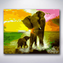 Load image into Gallery viewer, Mother And Baby Elephant - Paint by numbers