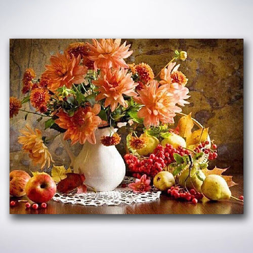 Orange Flowers And Fresh Fruit - Paint by number