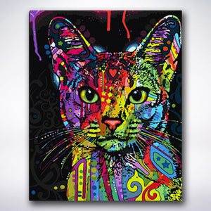Paint Drop Splatter Cat - Paint by number