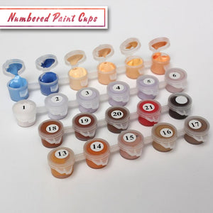 Paint by numbers numbered paint cups