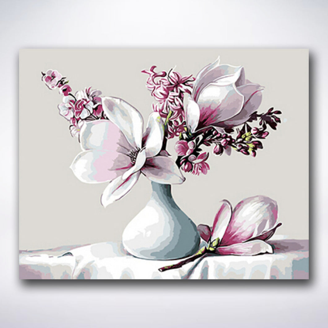 Pink Flowers In A Vase - Paint by number