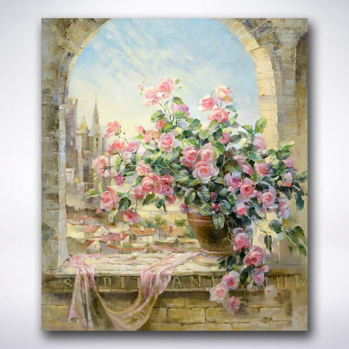 Pink Flowers In Castle Window - Paint by number