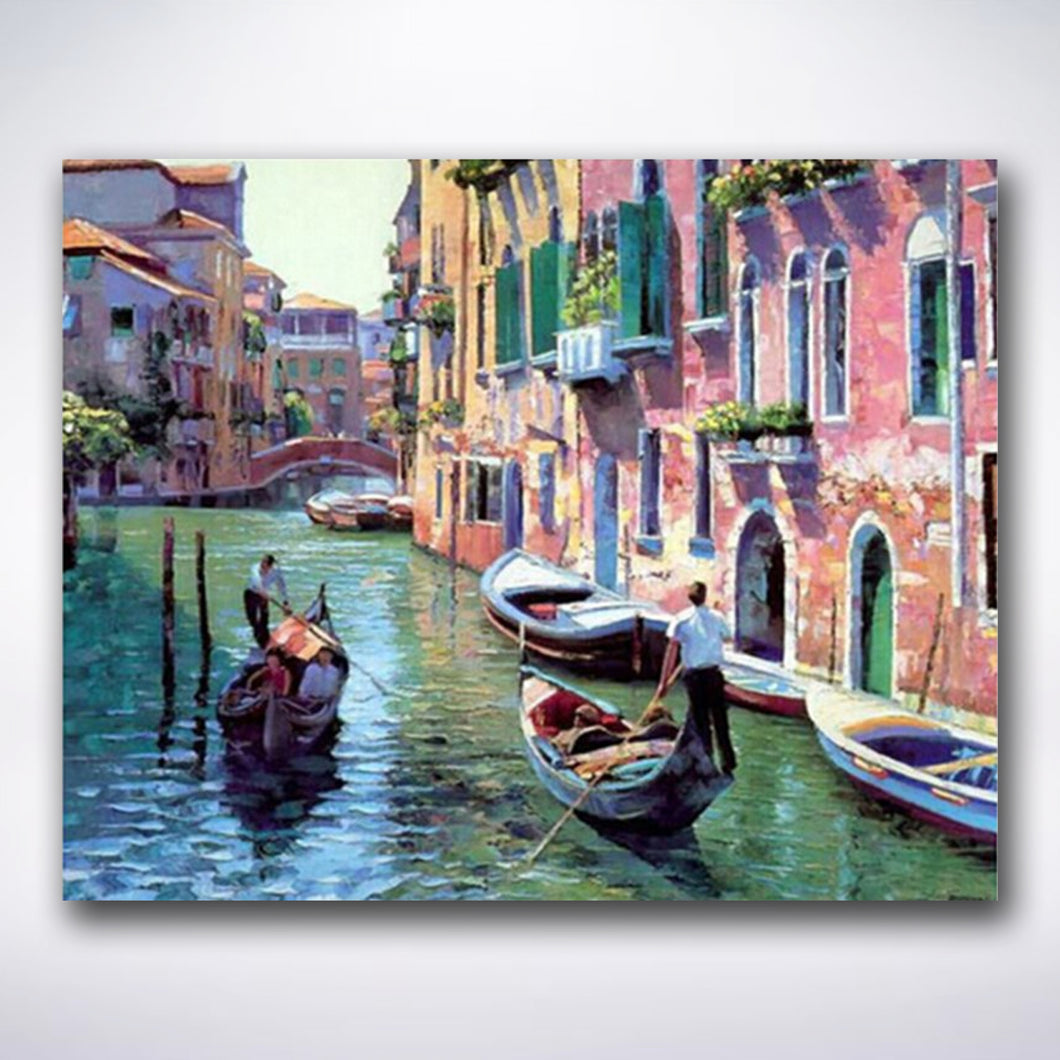 Pink Houses On The Venetian Canals - Paint by number
