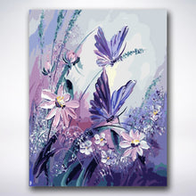 Load image into Gallery viewer, Purple Butterfly Flowers - Paint by number